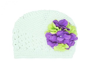 White Crochet Hat with Purple Green Large Geraniums