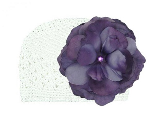 White Crochet Hat with Purple Large Rose