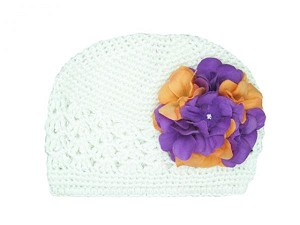 White Crochet Hat with Purple Orange Large Geraniums