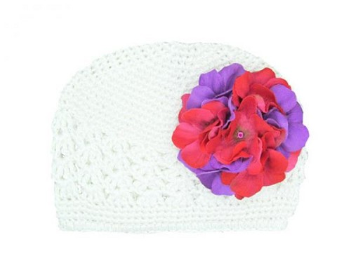 White Crochet Hat with Purple Raspberry Large Geraniums