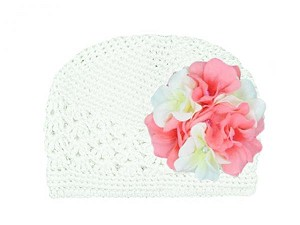 White Crochet Hat with Pink White Large Geraniums