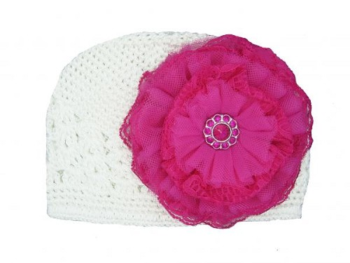 White Crochet Hat with Raspberry Lace Rose