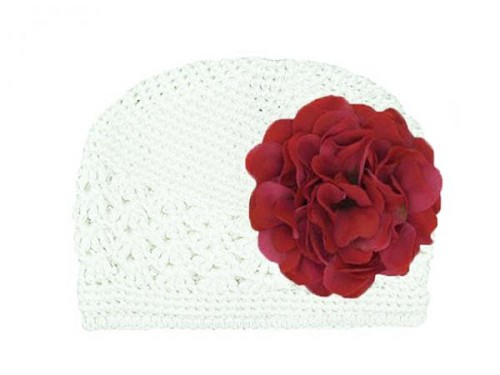 White Crochet Hat with Raspberry Large Geraniums