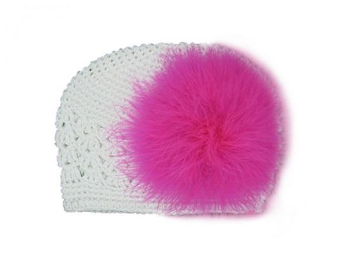 White Crochet Hat with Raspberry Large regular Marabou