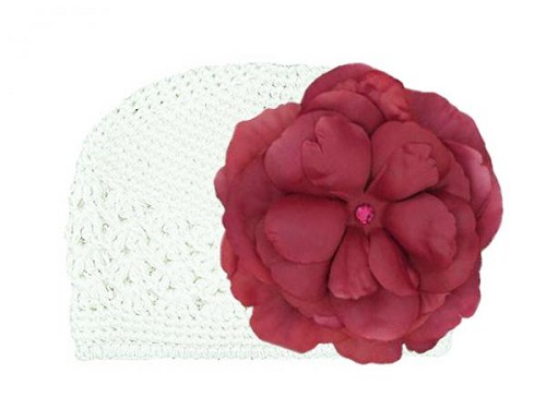 White Crochet Hat with Raspberry Large Rose