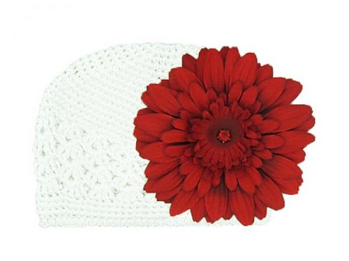 White Crochet Hat with Red Daisy