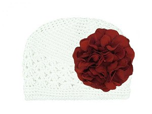 White Crochet Hat with Red Large Geraniums