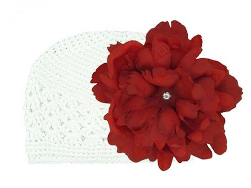 White Crochet Hat with Red Large Peony