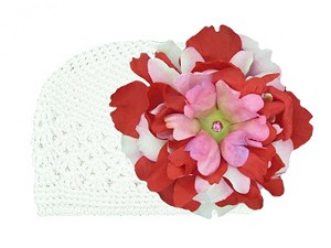 White Crochet Hat with Red Pink Large Peony