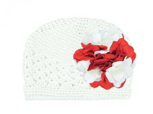 White Crochet Hat with Red White Large Geraniums