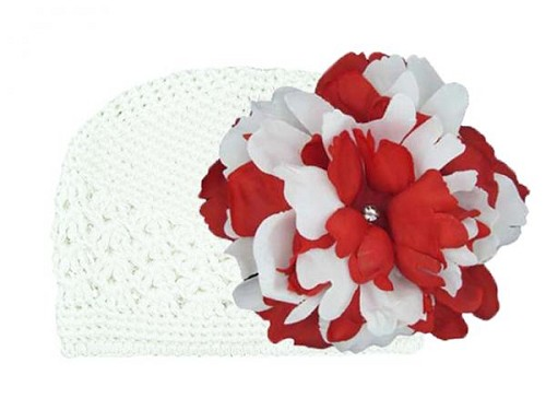 White Crochet Hat with Red White Large Peony