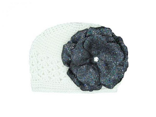 White Crochet Hat with Sequins Black Rose