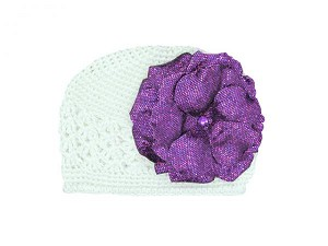 White Crochet Hat with Sequins Purple Rose