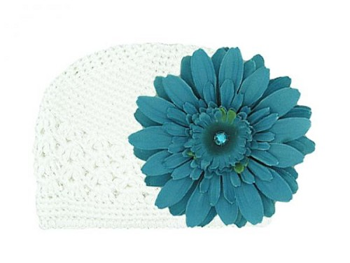White Crochet Hat with Teal Daisy
