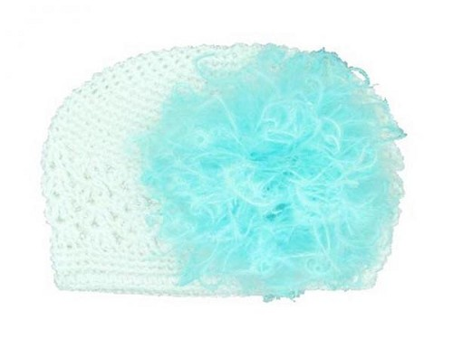 White Crochet Hat with Teal Large Curly Marabou