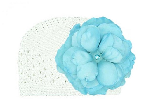 White Crochet Hat with Teal Large Rose