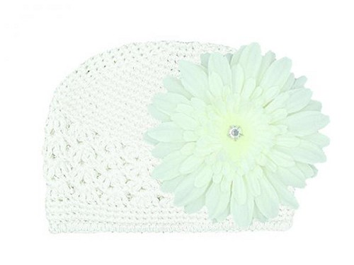 White Crochet Hat with White Daisy