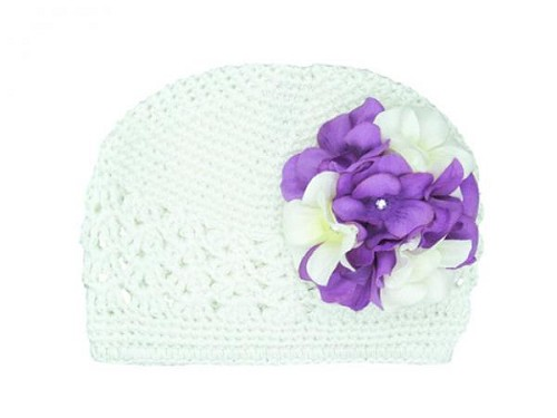 White Crochet Hat with White Purple Large Geraniums