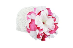 White Crochet Hat with White Raspberry Large Peony