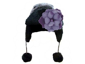 Black Couture Winter Wimple with Purple Small Rose