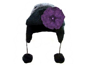 Black Couture Winter Wimple with Sequins Purple Rose