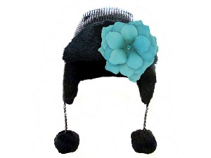 Black Couture Winter Wimple with Teal Small Rose
