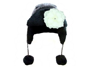 Black Couture Winter Wimple with White Small Rose