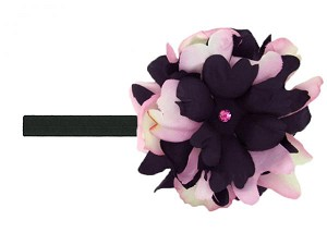 Black Flowerette Burst with Pink Black Small Peony