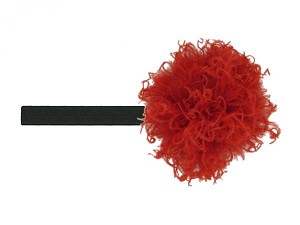 Black Flowerette Burst with Red Small Curly Marabou