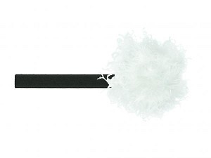 Black Flowerette Burst with White Small Curly Marabou