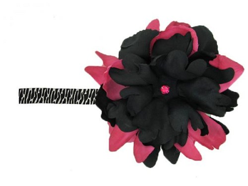 Black White Zebra Flowerette Burst with Black Raspberry Small Peony