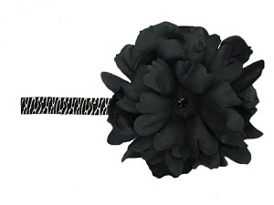 Black White Zebra Flowerette Burst with Black Small Peony