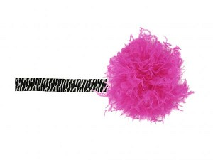 Black White Zebra Flowerette Burst with Hot Pink Small Curly Marabou
