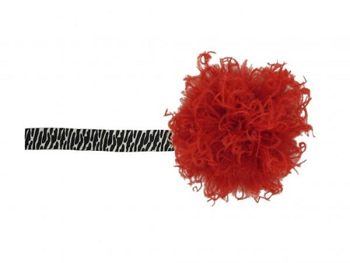 Black White Zebra Flowerette Burst with Red Small Curly Marabou