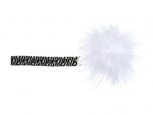 Black White Zebra Flowerette Burst with White Small Regular Marabou