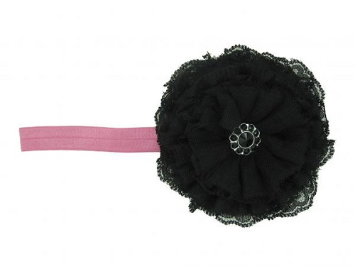 Candy Pink Flowerette Burst with Black Lace Rose