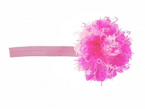 Candy Pink Flowerette Burst with Pink Raspberry Small Curly Marabou