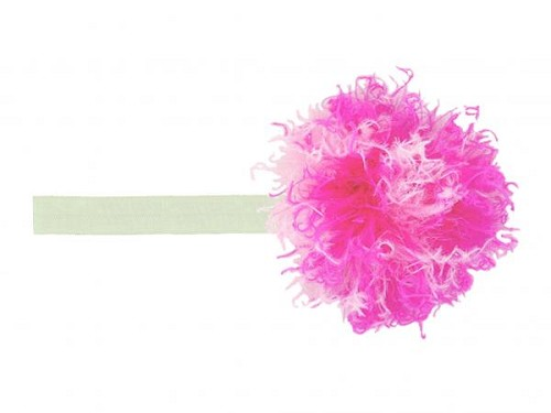 Cream Flowerette Burst with Pink Raspberry Small Curly Marabou
