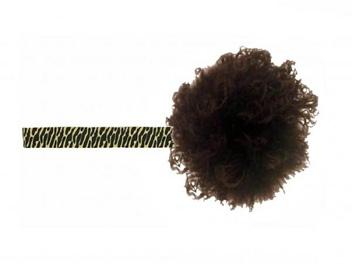 Leopard Flowerette Burst with Brown Small Curly Marabou