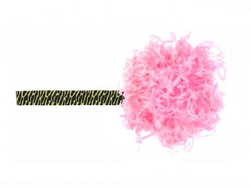 Leopard Flowerette Burst with Candy Pink Small Curly Marabou