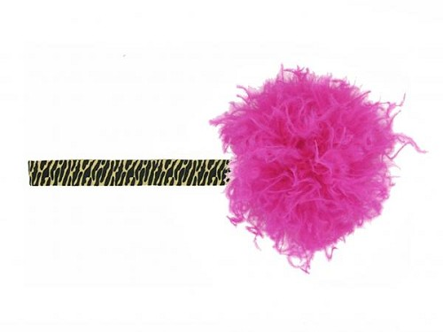 Leopard Flowerette Burst with Raspberry Small Curly Marabou