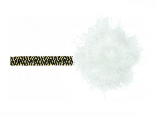 Leopard Flowerette Burst with White Small Curly Marabou