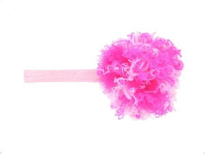 Pale Pink Flowerette Burst with Pink Raspberry Small Curly Marabou