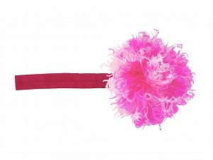 Raspberry Flowerette Burst with Pink Raspberry Small Curly Marabou