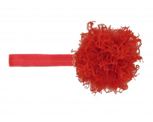 Red Flowerette Burst with Red Small Curly Marabou