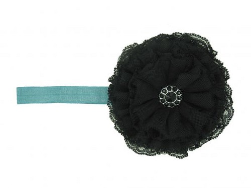 Teal Flowerette Burst with Black Lace Rose