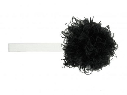 White Flowerette Burst with Black Small Curly Marabou