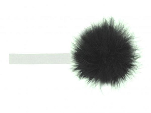 White Flowerette Burst with Black Small Regular Marabou