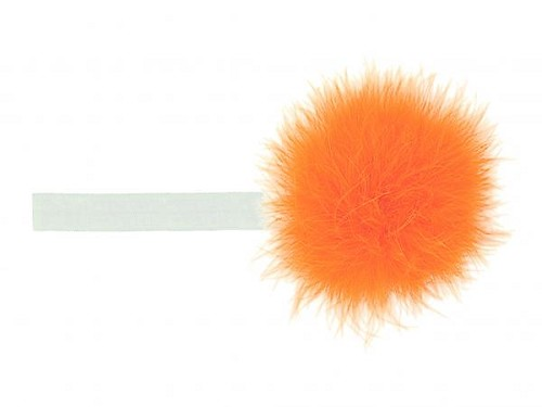 White Flowerette Burst with Orange Small Regular Marabou