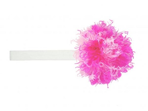 White Flowerette Burst with Pink Raspberry Small Curly Marabou